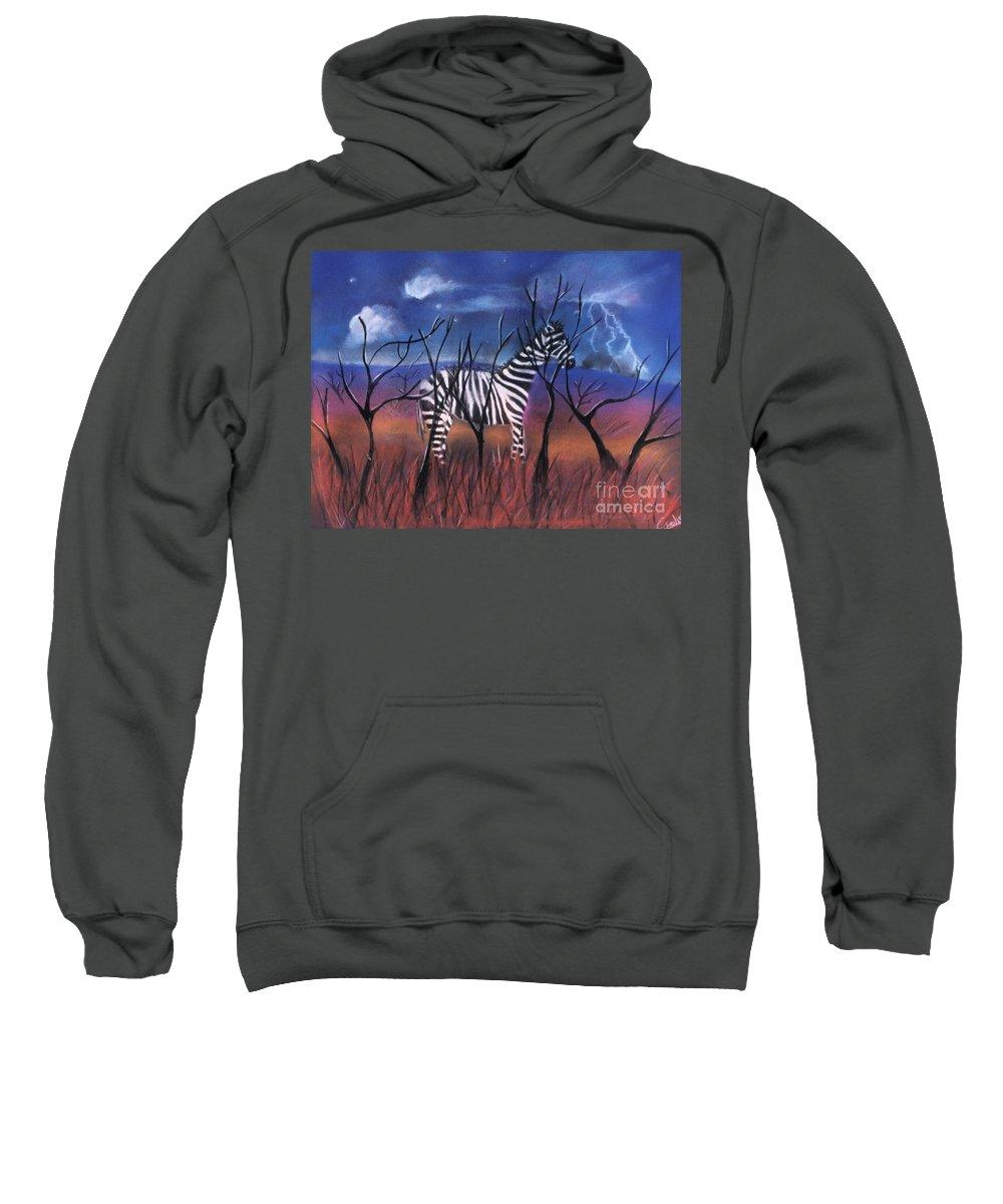 Zebra Sweatshirt featuring the pastel A Stormy Night For A Zebra by Caroline Peacock