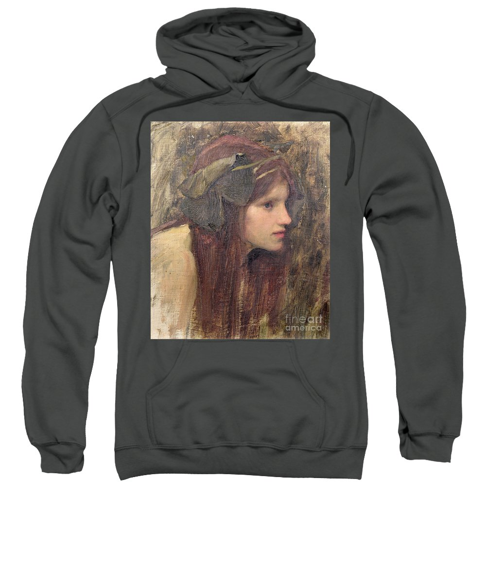 Naiad Sweatshirt featuring the painting A Study For A Naiad by John William Waterhouse