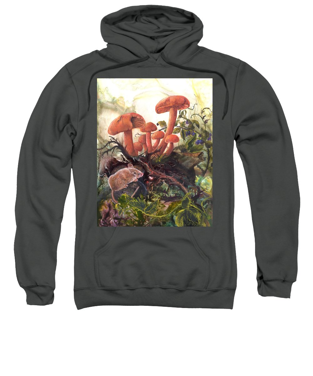 Mouse Sweatshirt featuring the painting A Thorny Situation by Sherry Shipley