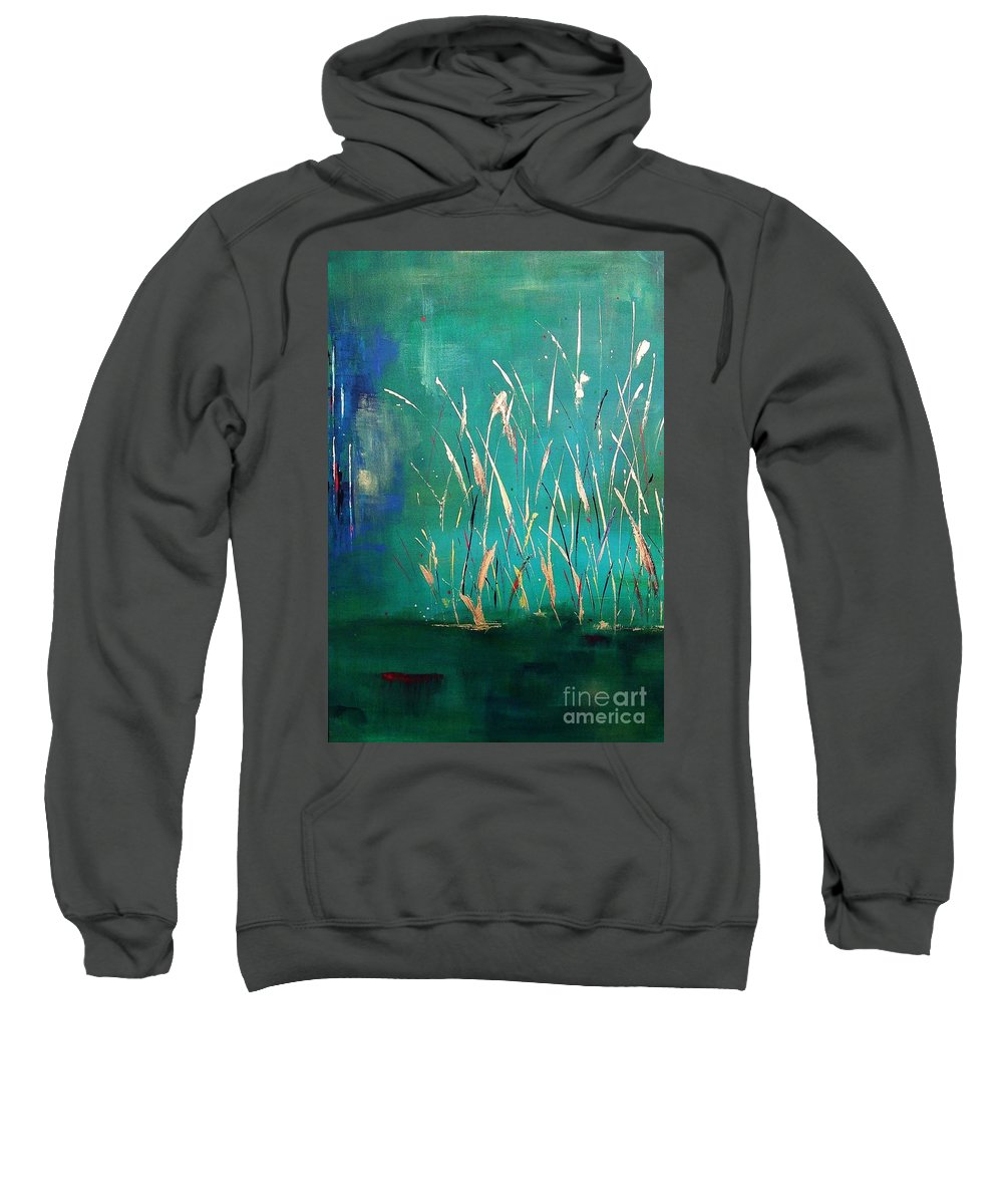 Abstract Landscape Sweatshirt featuring the painting A Touch Of Teal by Frances Marino