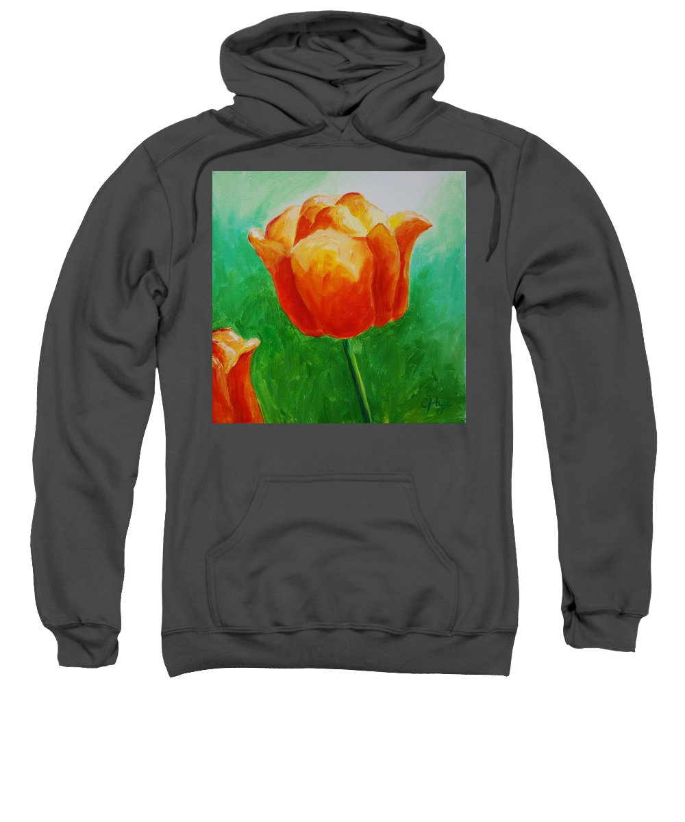 Monet Sweatshirt featuring the painting A Tulip For Jolee by Emily Page