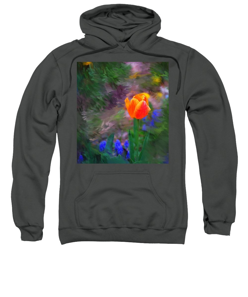 Floral Sweatshirt featuring the digital art A Tulip Stands Alone by David Lane