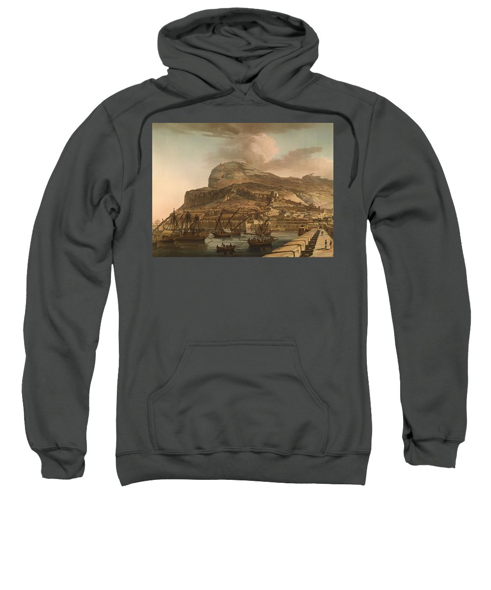 Painting Sweatshirt featuring the painting A View Of The Rock Of Gibraltar From The Spanish Lines 1782 by Mountain Dreams