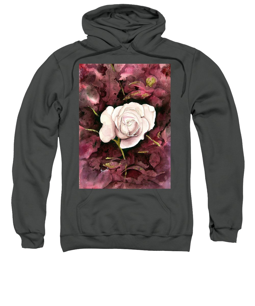 Flower Sweatshirt featuring the painting A White Rose by Sam Sidders
