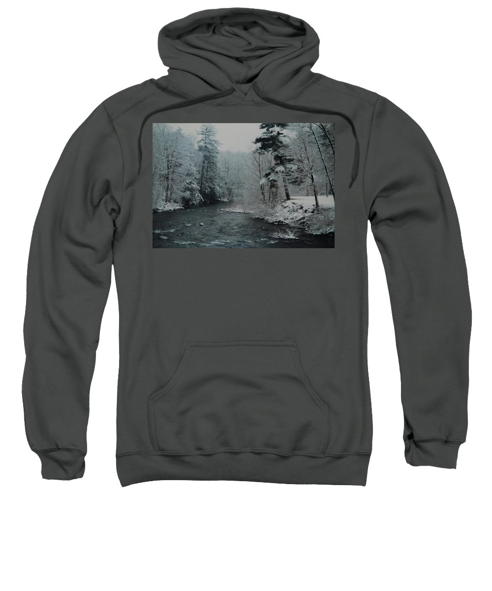 B&w Sweatshirt featuring the photograph A Winter Waterland by Rob Hans