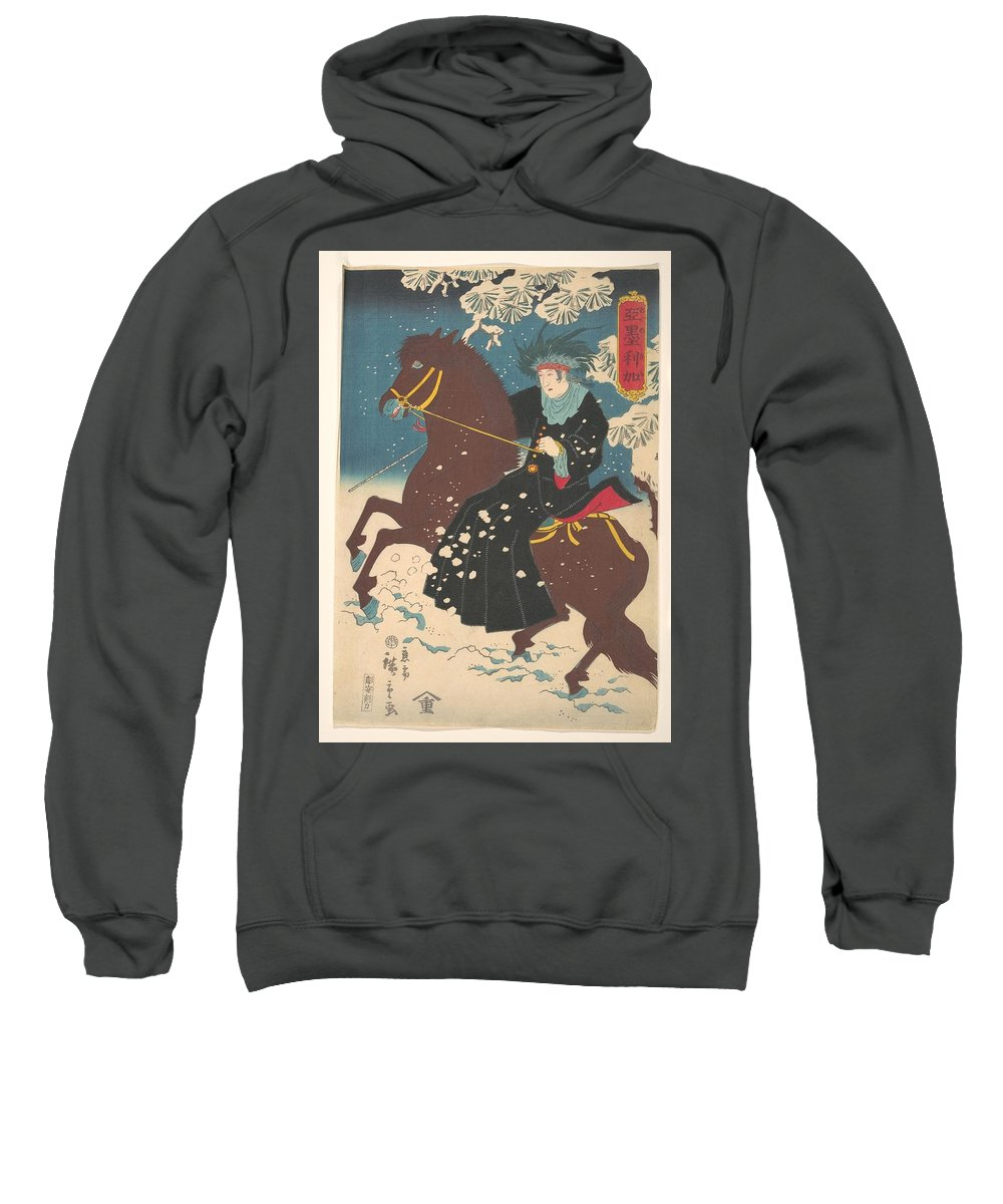 America; A Woman On Horseback In The Snow Sweatshirt featuring the painting A Woman On Horseback In The Snow by Eastern Accents