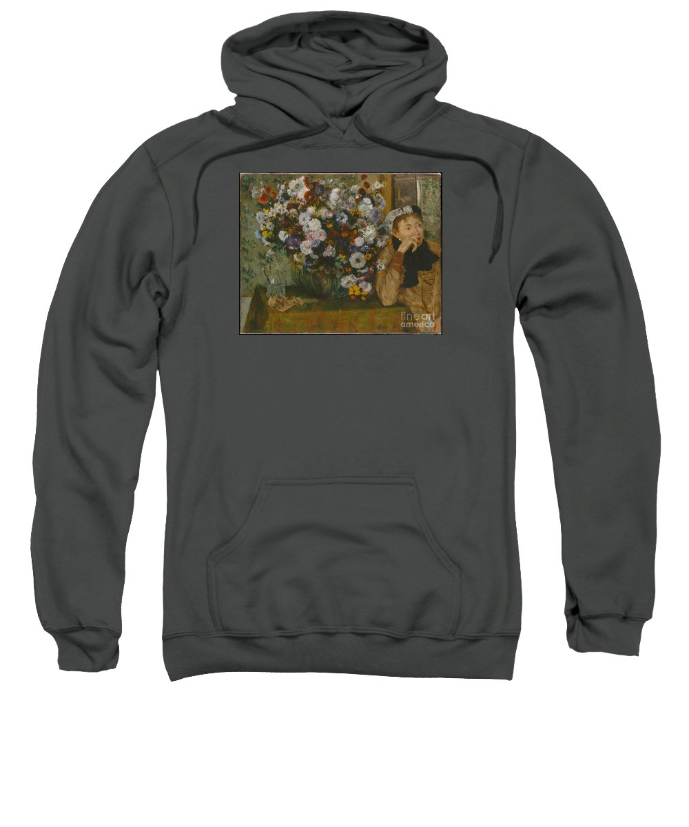 A Woman Seated Beside A Vase Of Flowers (madame Paul Valpin�on) Artist Edgar Degas (french Sweatshirt featuring the painting A Woman Seated Beside A Vase Of Flowers by Celestial Images
