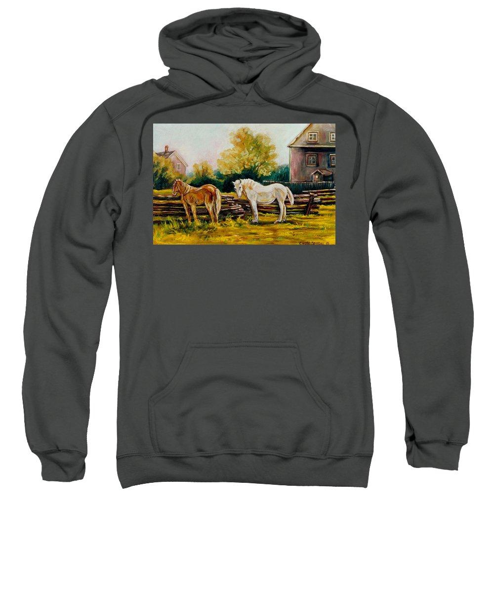 Horses Sweatshirt featuring the painting A Wonderful Life by Carole Spandau