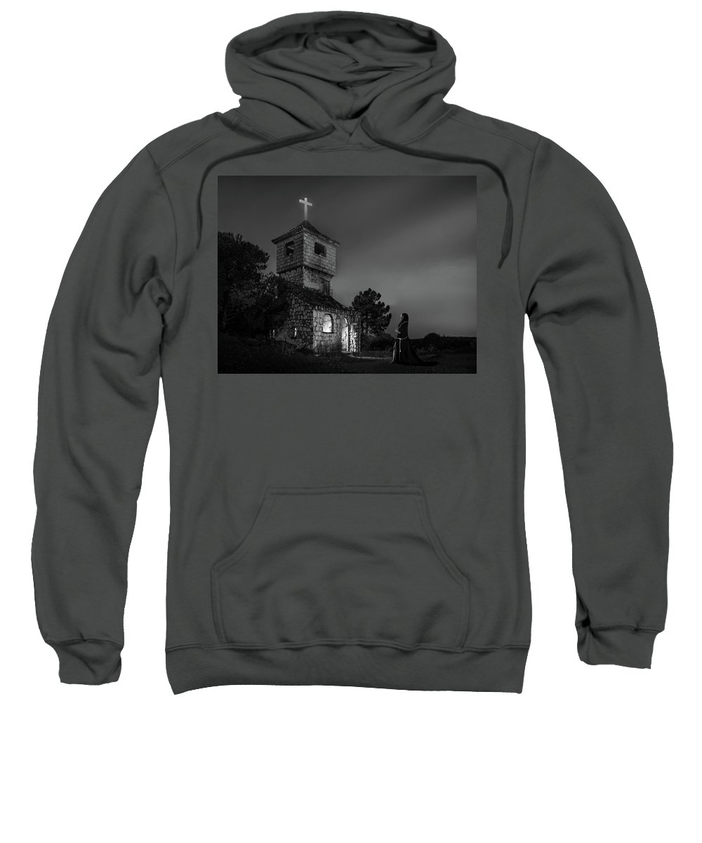 Abandoned Sweatshirt featuring the photograph Abandoned Church At Night. Mysterious Nun by Peter Hayward Photographer