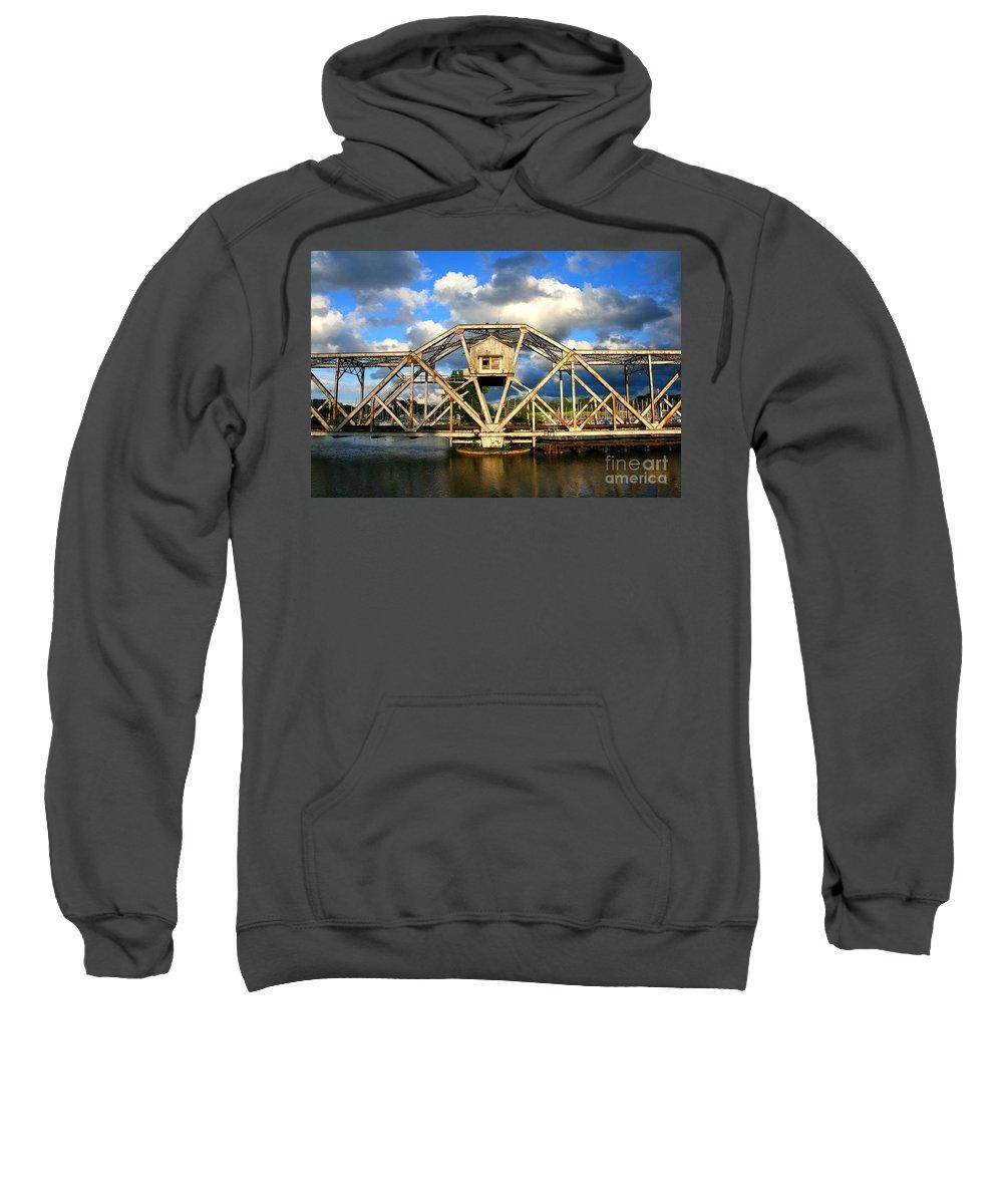 Swingbridge Sweatshirt featuring the photograph Abandoned Swingbridge by Ken Marsh