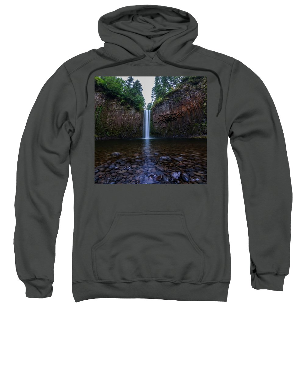 Abiqua Falls Marion County Oregon Water Waterfall Waterfalls Forest Pacific Northwest Hike Hiking Wilderness Outside Pnw Outdoors Pacific Northwest Explore Mountain View Views Quest Live Authentic Outbound Trees Love Beautiful Happy Fun Art Smile Style Amazing Cool Awesome Adventure Sweatshirt featuring the photograph Abiqua Falls 2 by Pelo Blanco Photo