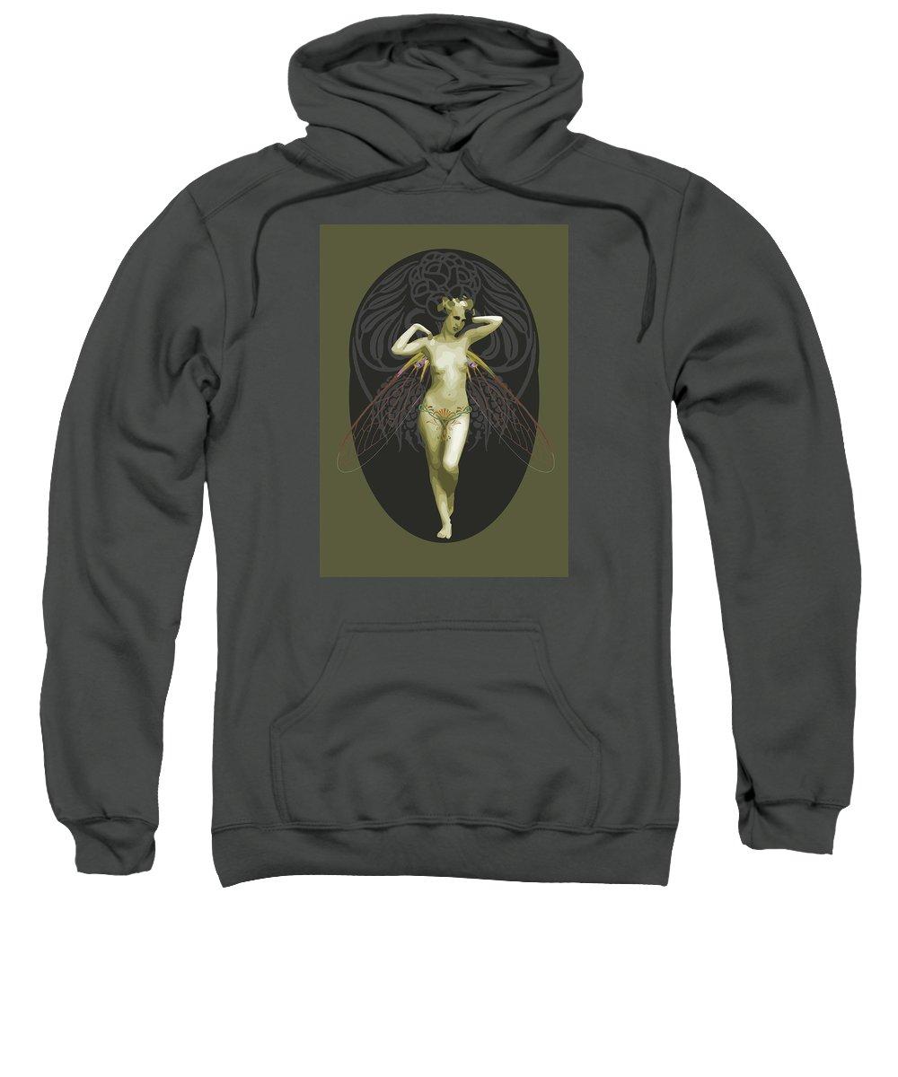 Colourful Sweatshirt featuring the digital art Absinthe Fairy by Joaquin Abella