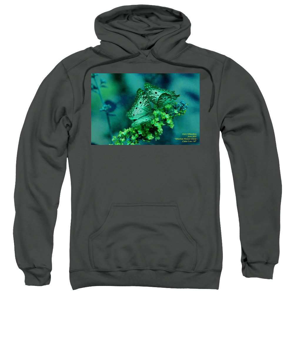 Announcement Sweatshirt featuring the painting Absolute Flower Gloria Catus 1 No. 1 B H A by Gert J Rheeders
