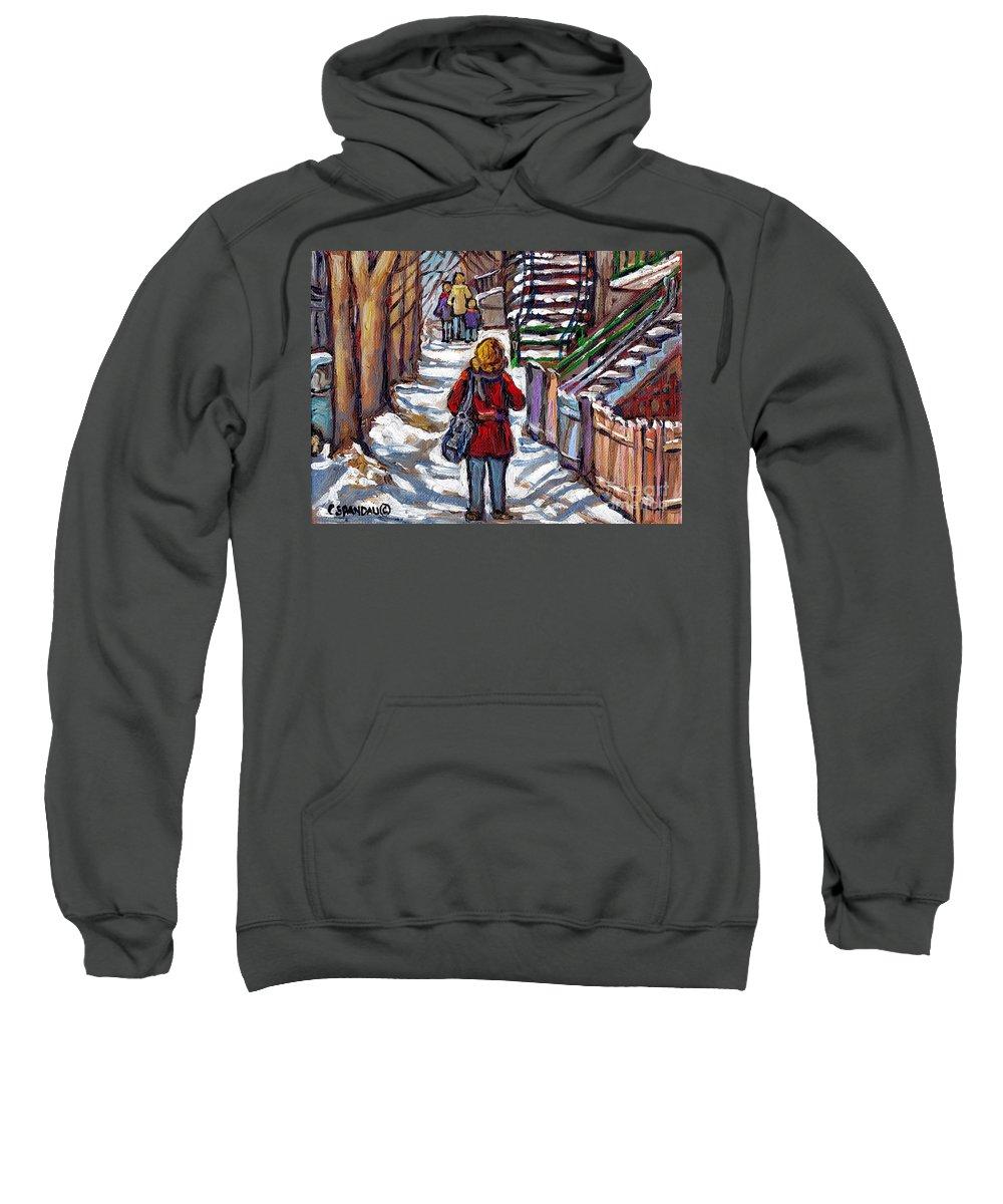 Original Montreal Paintings For Sale Sweatshirt featuring the painting En Route Vers L'ecole Escaliers De Montreal Scenes De Ville Peintures A Vendre by Carole Spandau