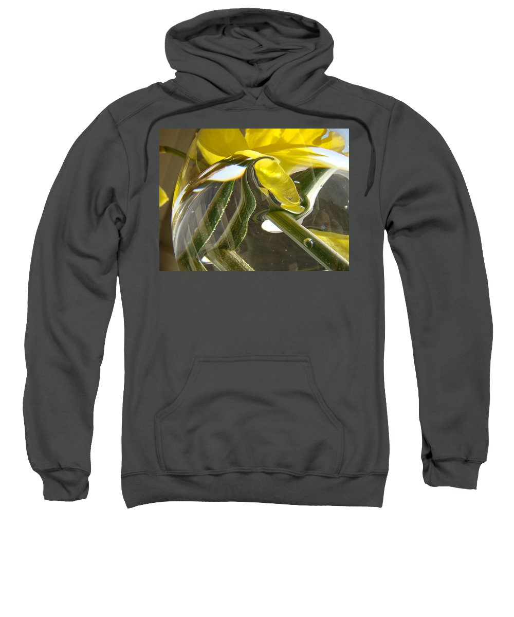 �daffodils Artwork� Sweatshirt featuring the photograph Abstract Artwork Daffodils Flowers 1 Natural Abstract Art Prints Glass Vase Water Art Light Air by Baslee Troutman