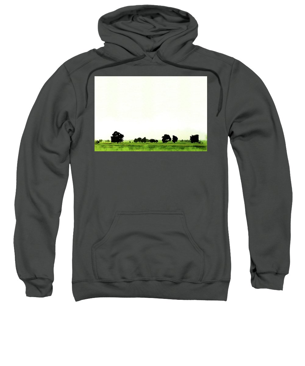 Outdoor Sweatshirt featuring the painting Abstract Beautiful Tree And Landscape For Background. by Punnarong Lotulit