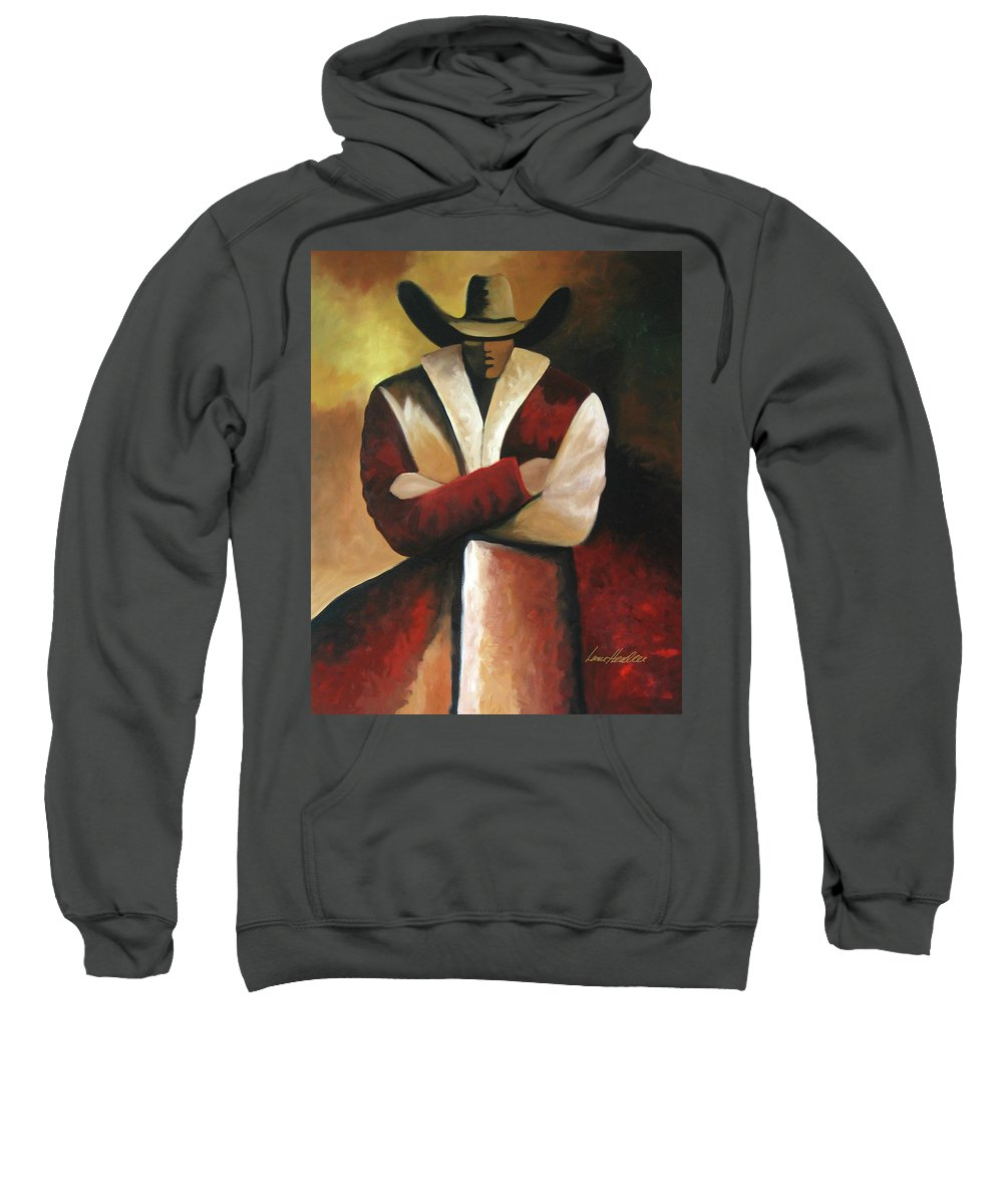 Sweatshirt featuring the painting Abstract Cowboy by Lance Headlee
