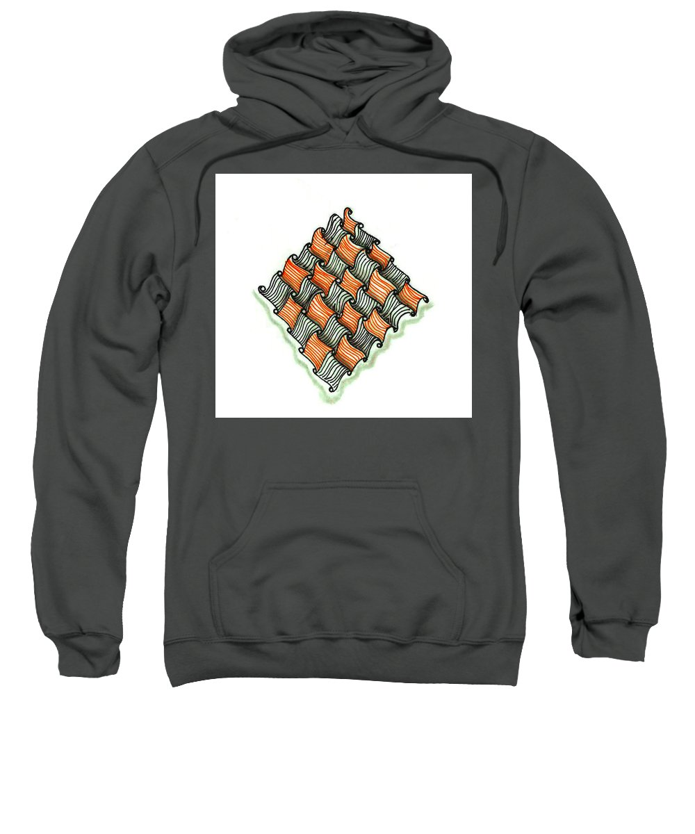 Abstract Sweatshirt featuring the drawing Abstract Line Design In Black And Orange by Eric Strickland