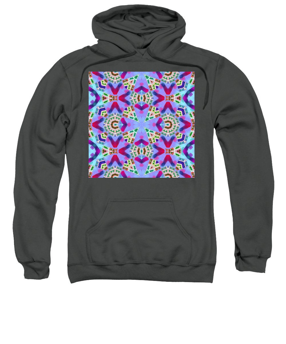 Blue Sweatshirt featuring the digital art Abstract Seamless Pattern - Blue Pink Purple Red Green Brown White by Lenka Rottova