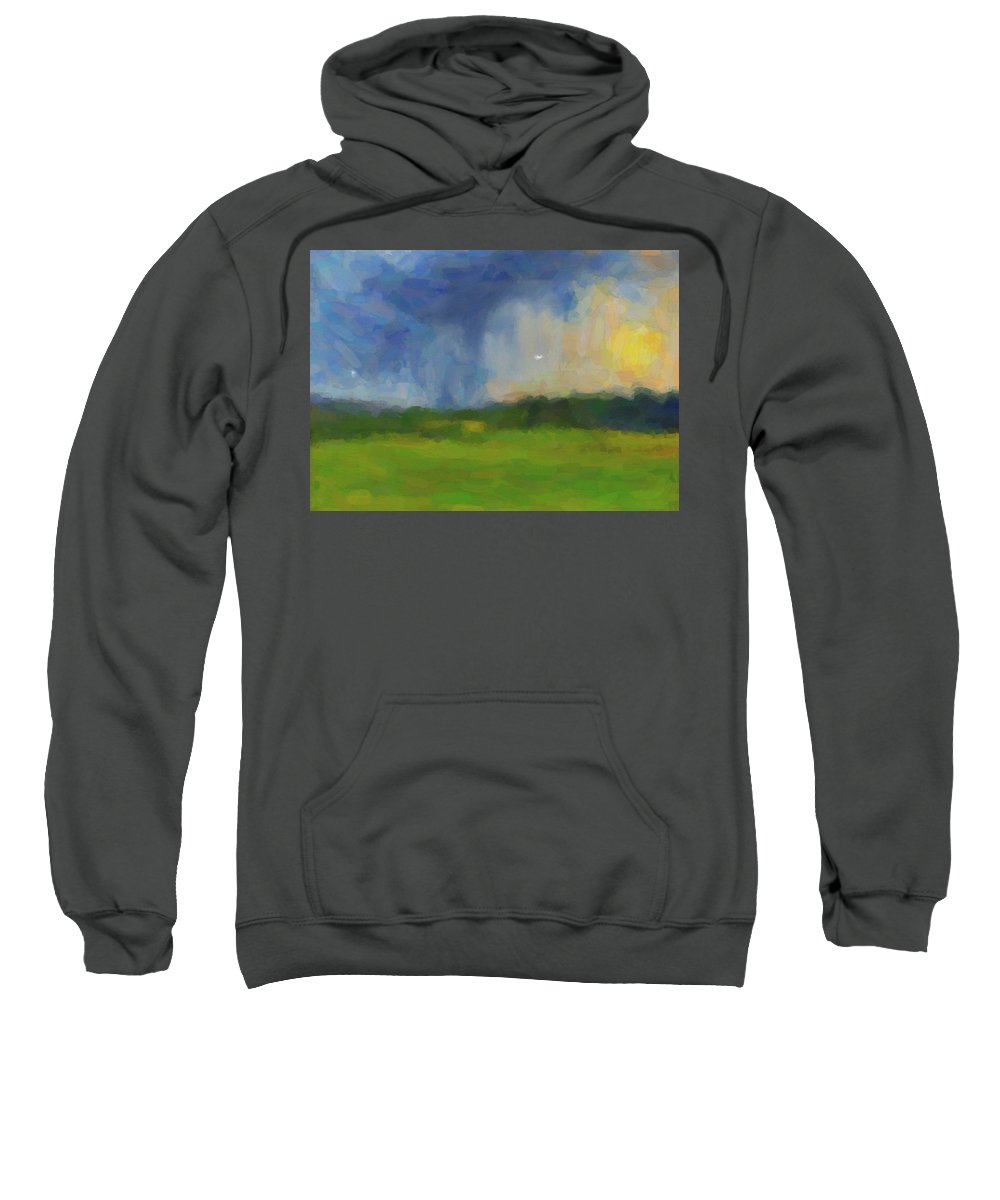 Abstract Sweatshirt featuring the painting Abstract Stormy Landscape by Celestial Images