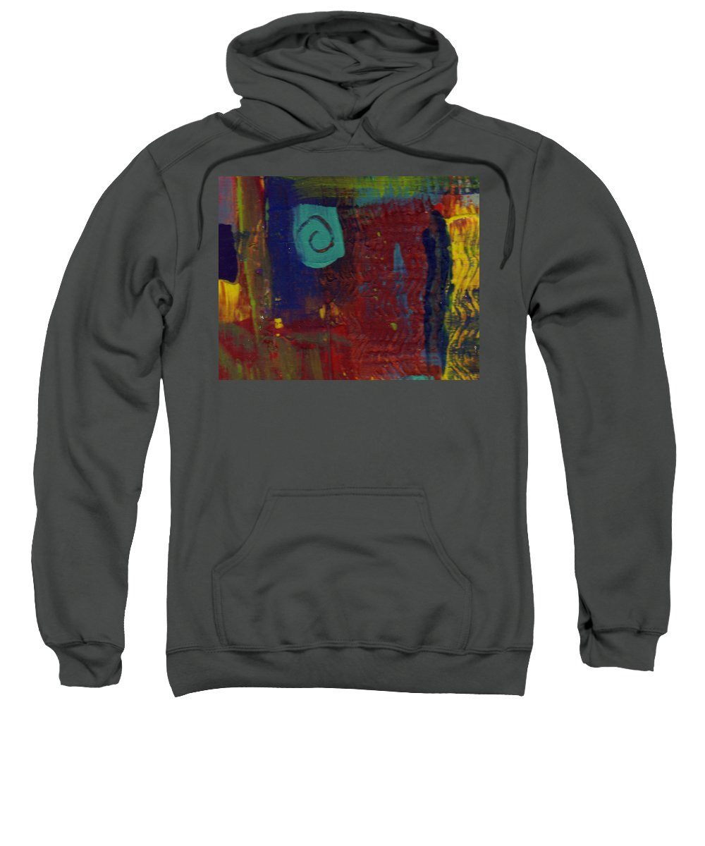 Abstract Sweatshirt featuring the painting Abstract With Teal Spiral by Wayne Potrafka