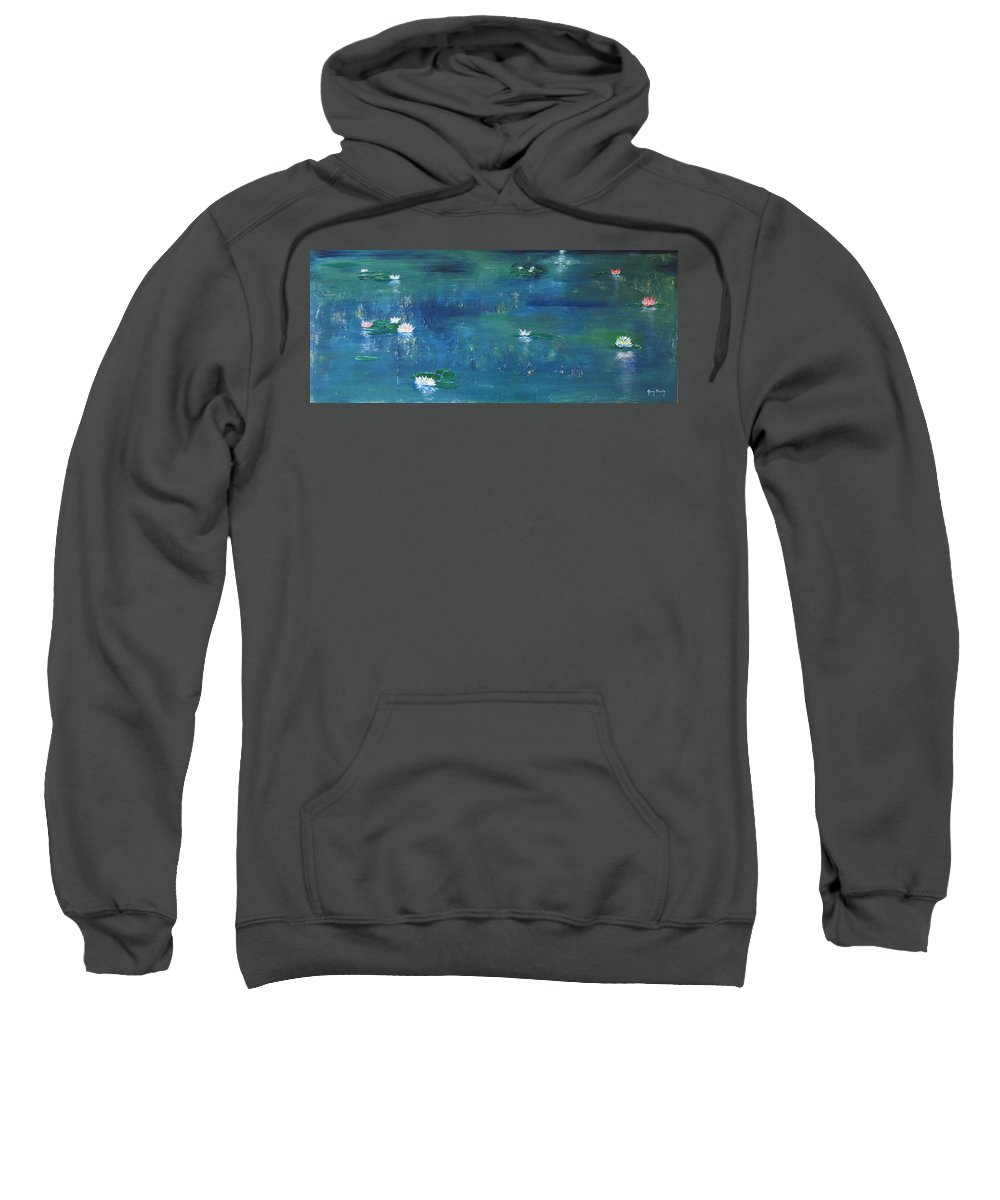 Lily Sweatshirt featuring the painting Across The Lily Pond by Gary Smith