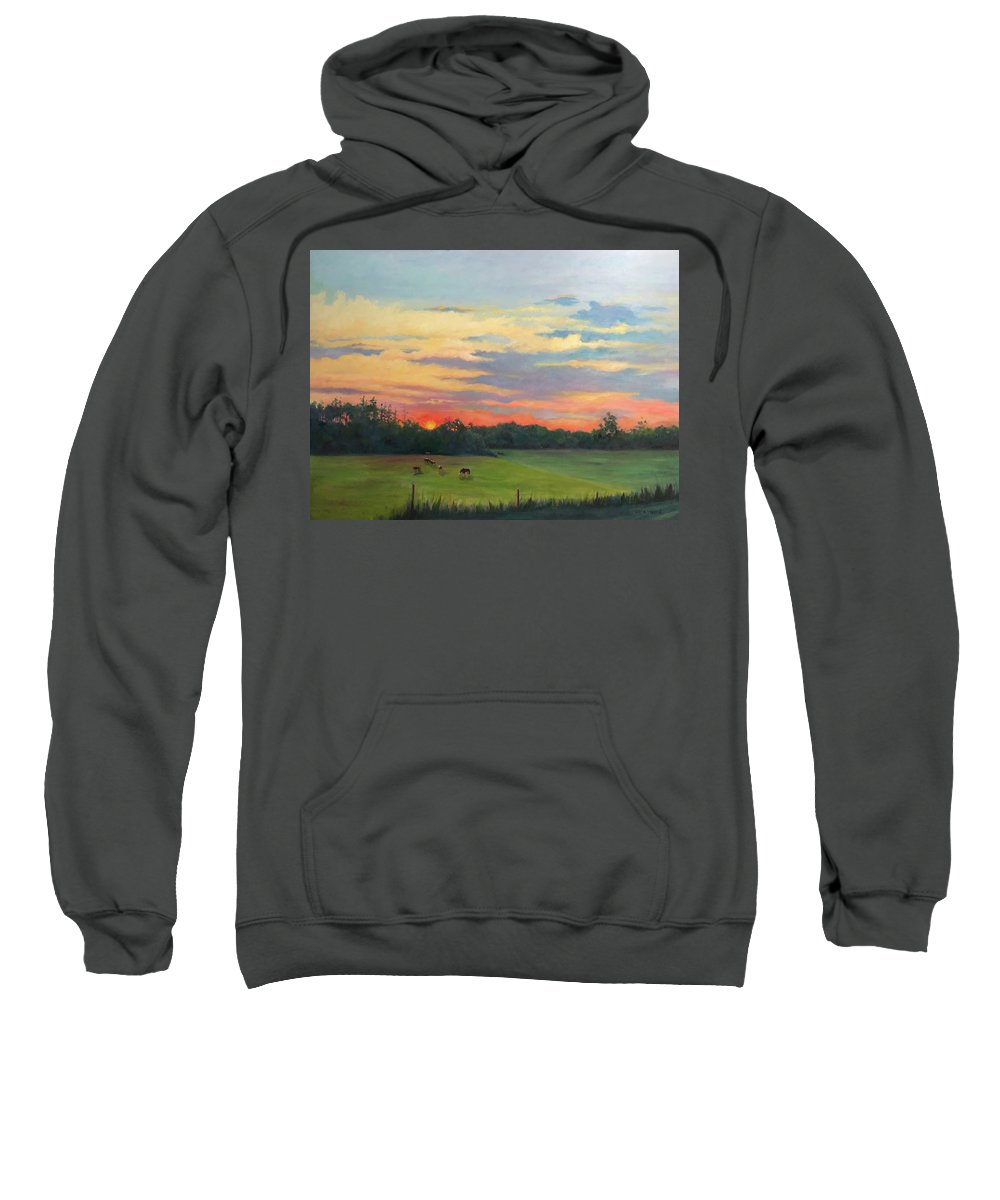 Sunset Pasture Cows Horizon Painting Farm Afternoon Sweatshirt featuring the painting Across The Pasture by Martha Faires