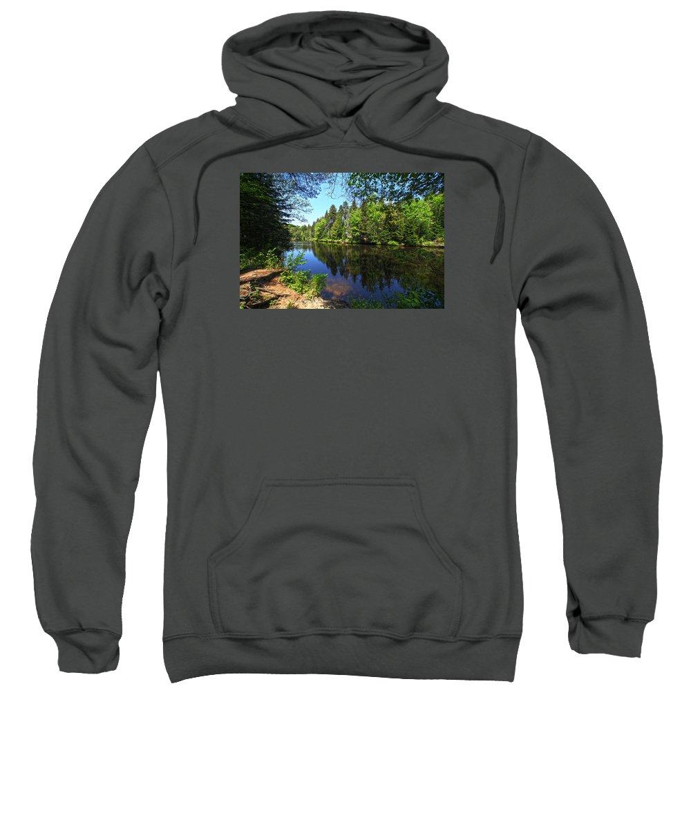 Adirondack Lake Water Pond Trees Pine Sweatshirt featuring the photograph Adirondack Waters by Robert Och
