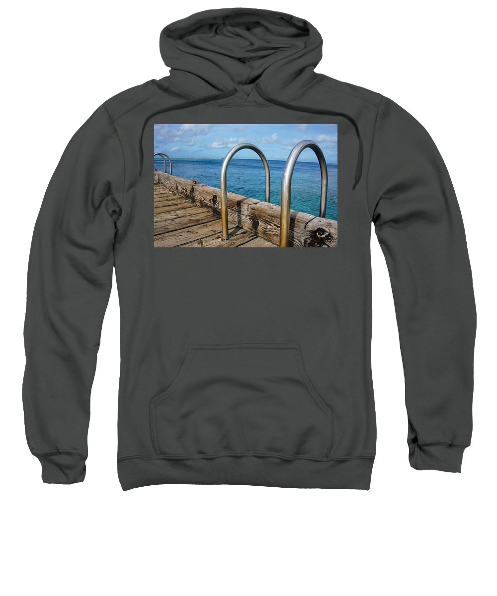 Railing Sweatshirt featuring the photograph Adventure Into The Blue by Jade Phoenix