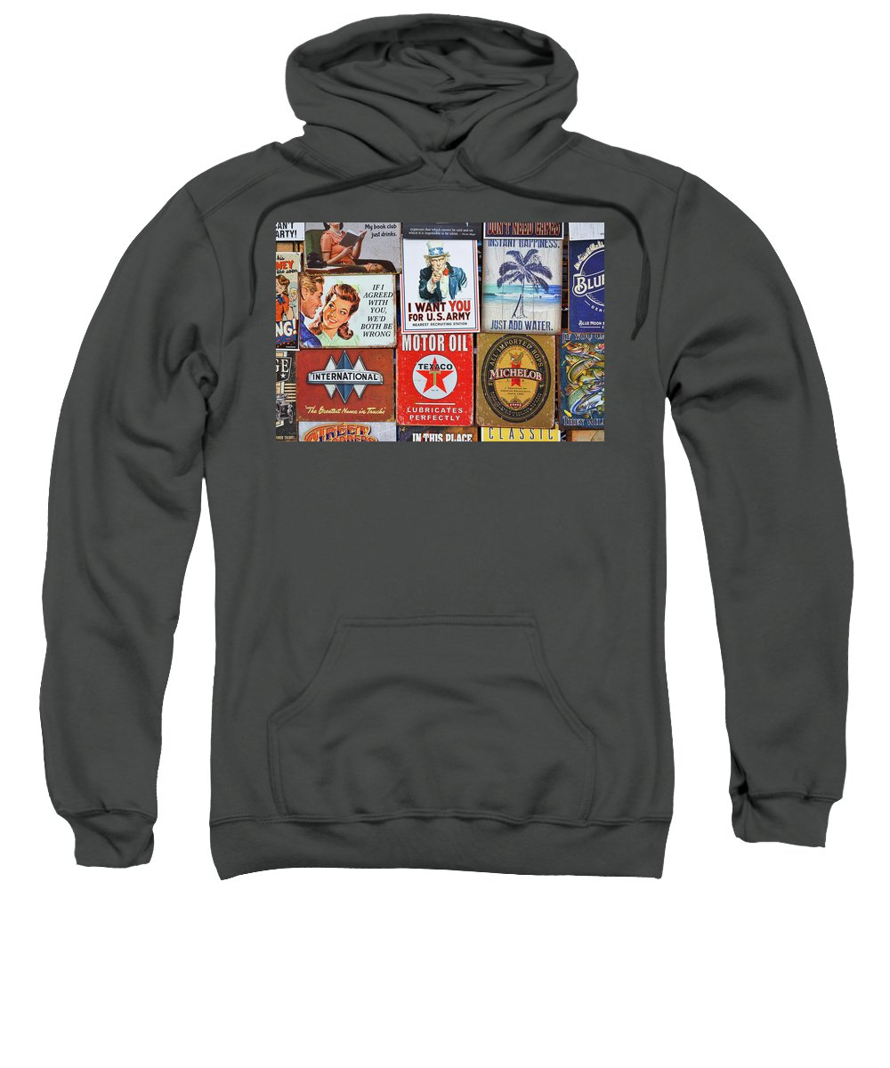 Ads Sweatshirt featuring the photograph Advertising Signs Display by Stuart Litoff