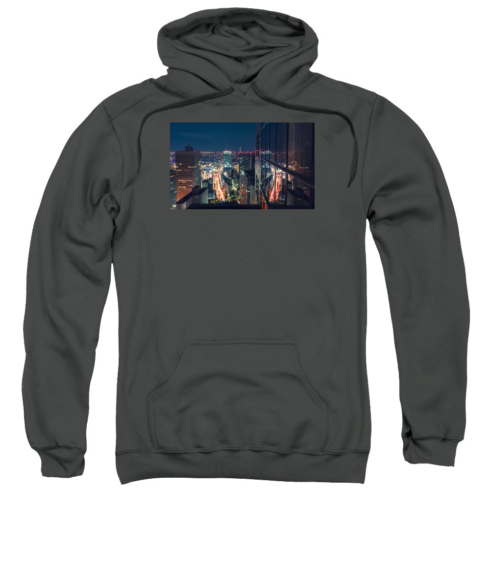 Japan Sweatshirt featuring the photograph Aerial View Cityscape At Night In Tokyo Japan From A Skyscraper by Michiko Tierney