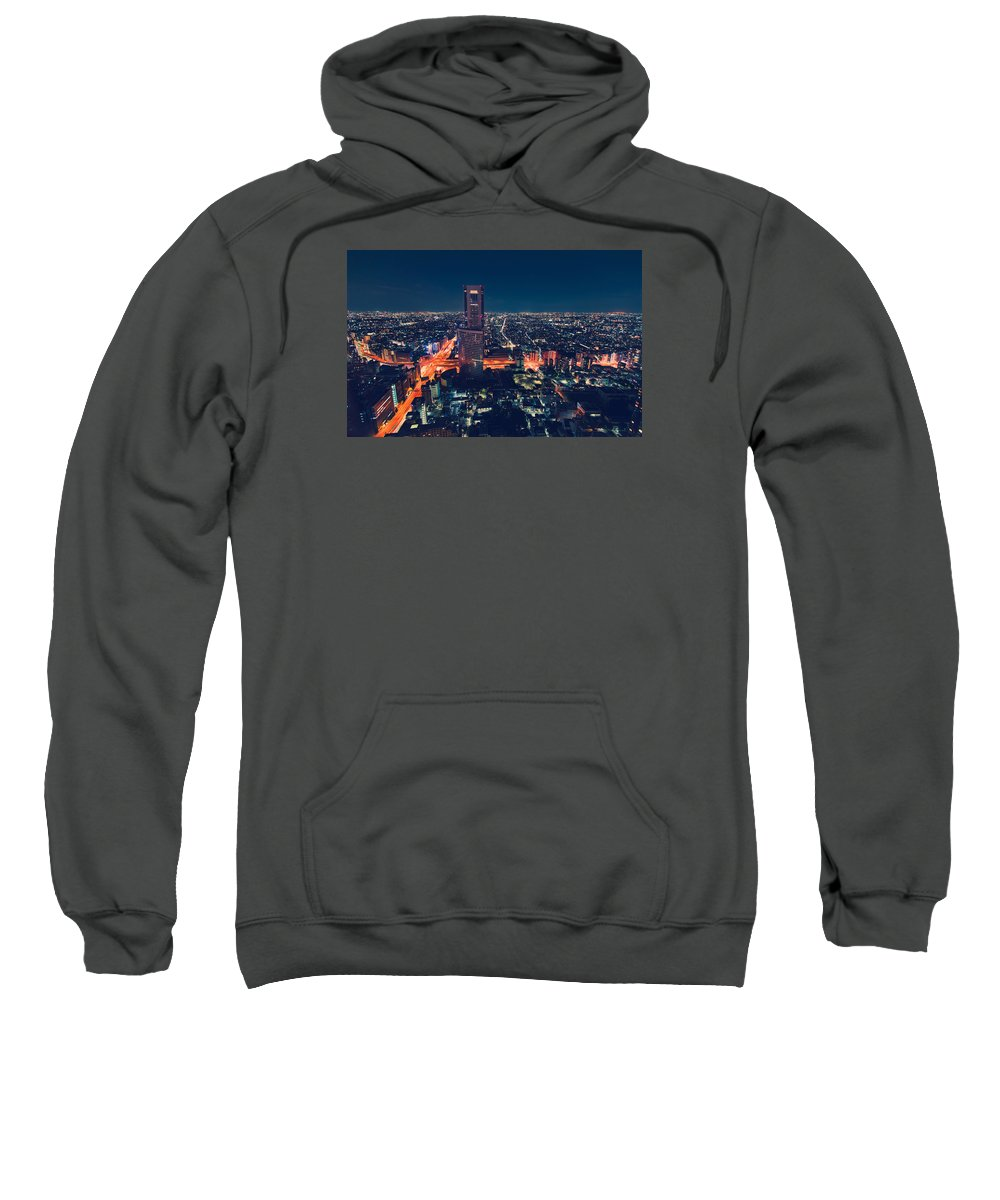Japan Sweatshirt featuring the photograph Aerial View Cityscape At Night In Tokyo Japan by Michiko Tierney