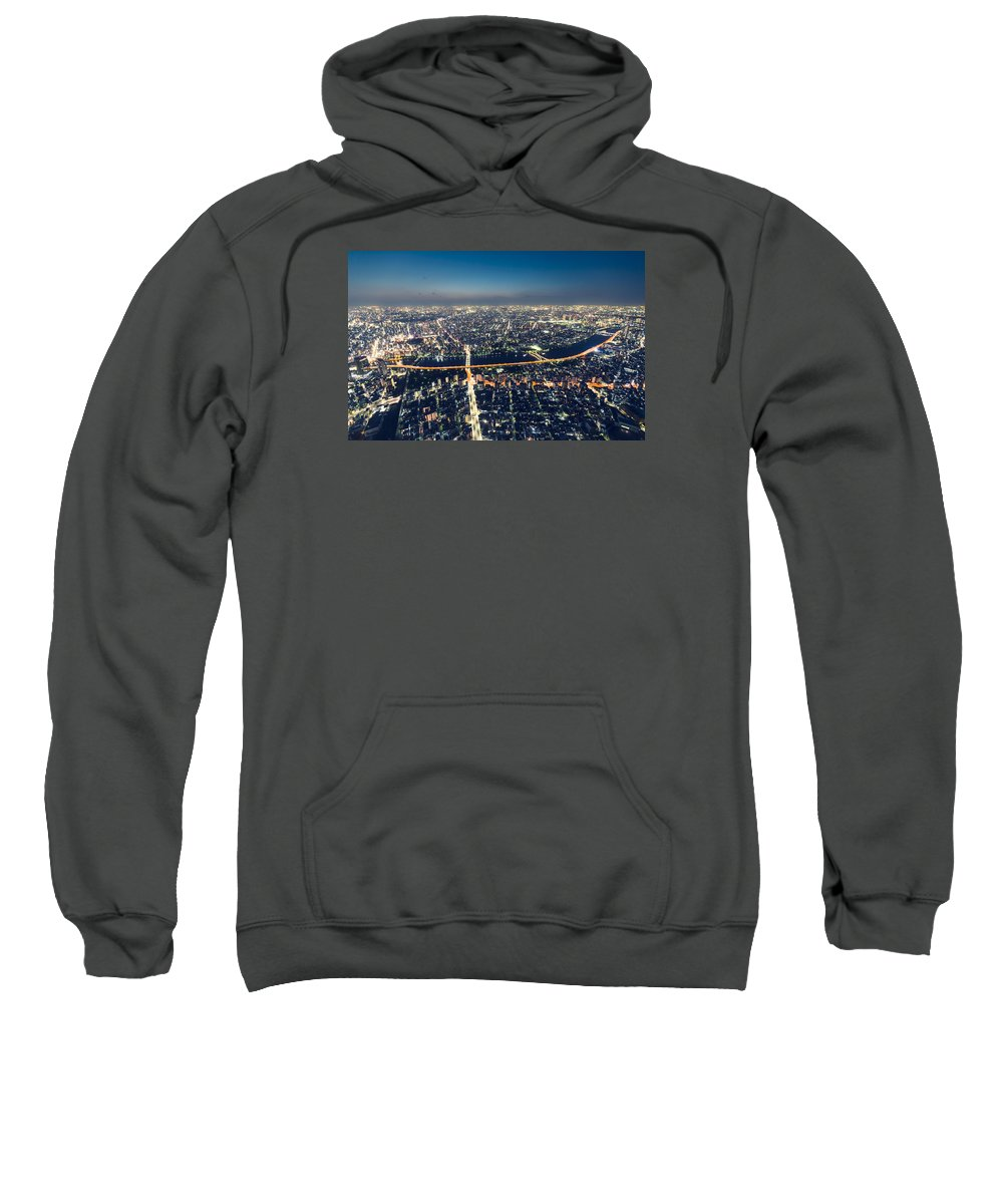 Aerial Sweatshirt featuring the photograph Aerial View Cityscape At Night by Michiko Tierney