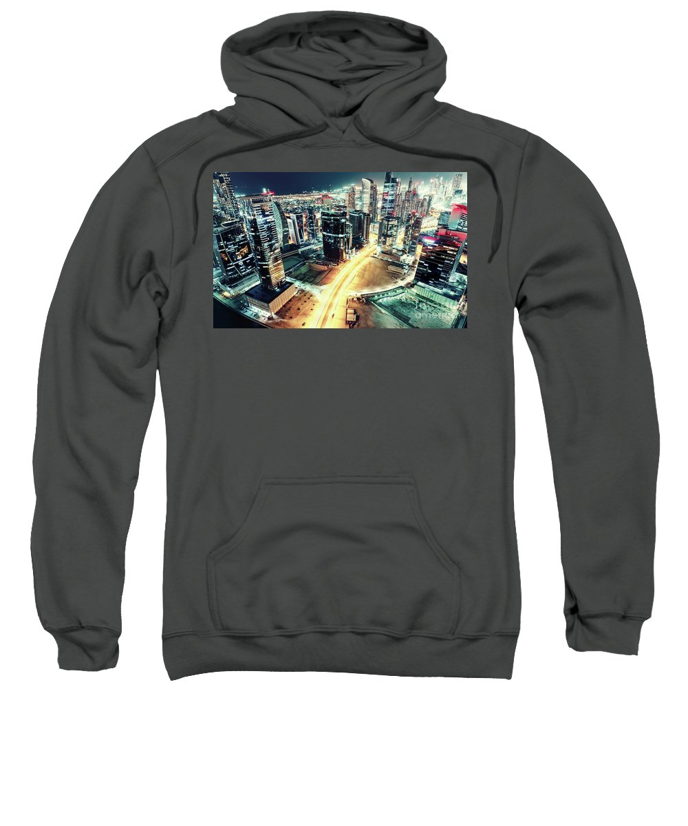 Dubai Sweatshirt featuring the photograph Aerial View Of Dubai's Business Bay At Night. by Dmitrii Telegin