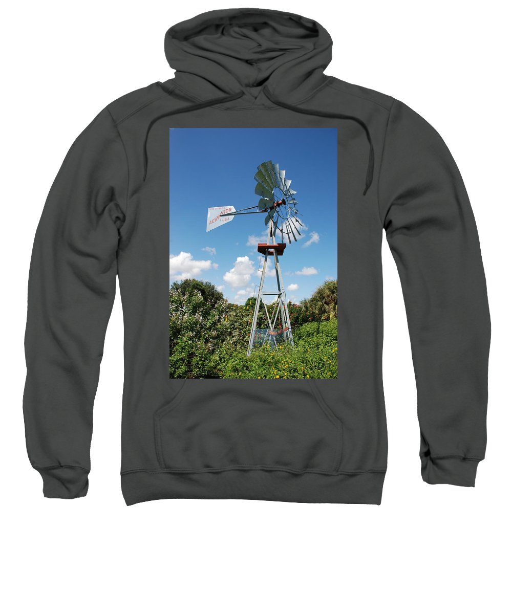 Blue Sweatshirt featuring the photograph Aeromotor Windmill by Rob Hans
