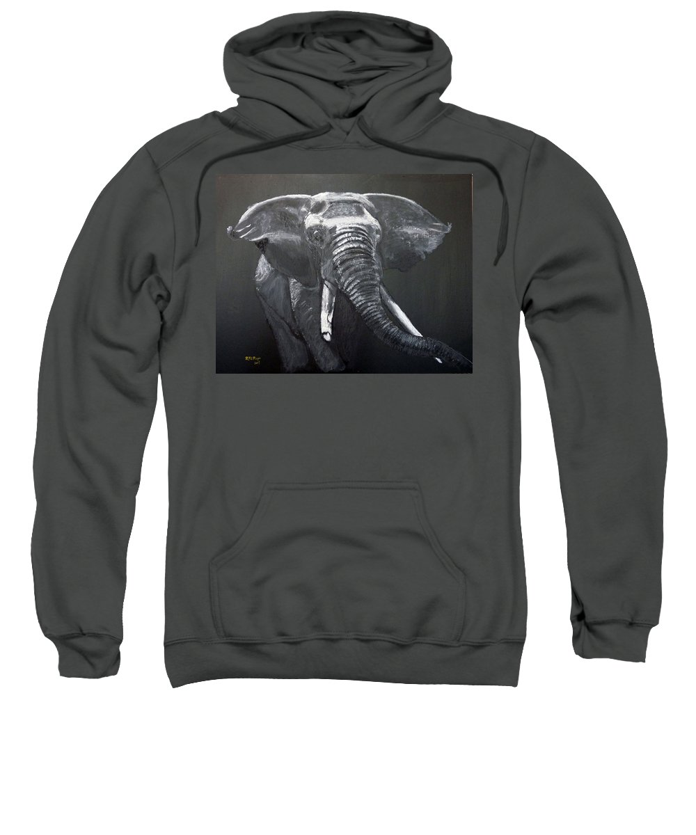Elephant Sweatshirt featuring the painting African Elephant by Richard Le Page