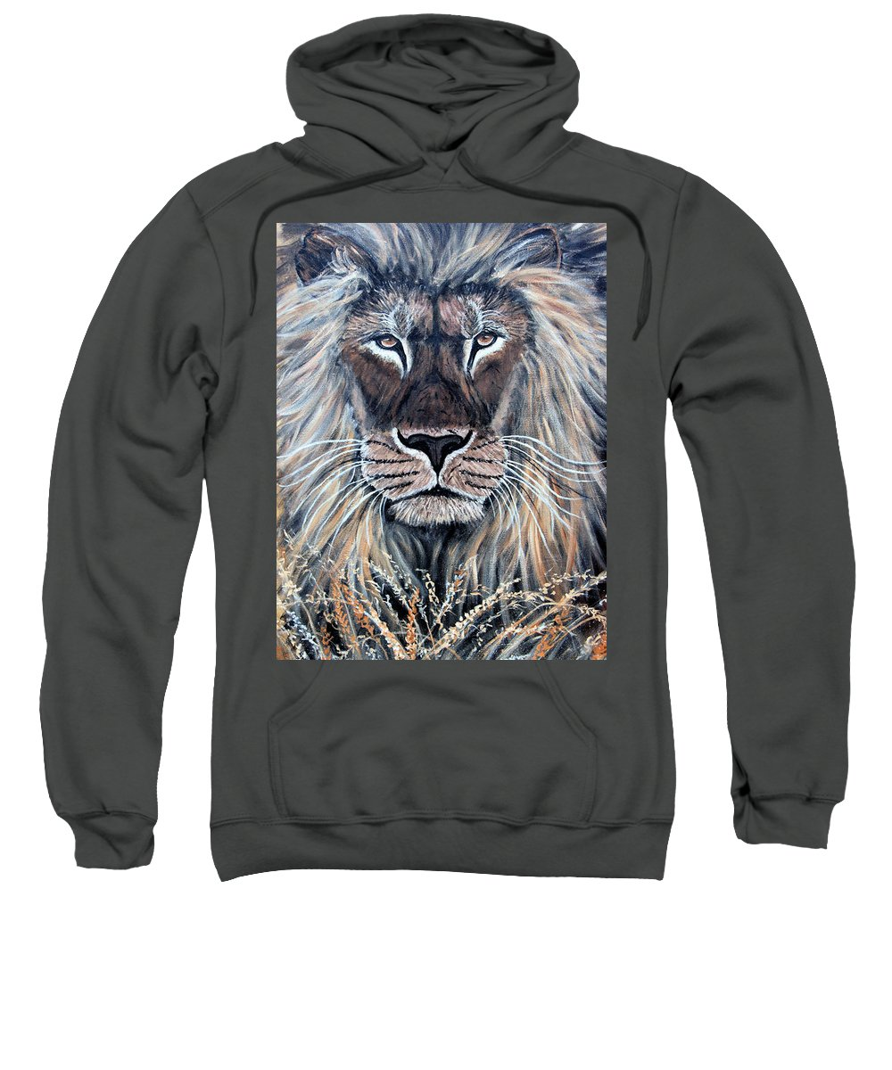 Lion Sweatshirt featuring the painting African Lion by Nick Gustafson