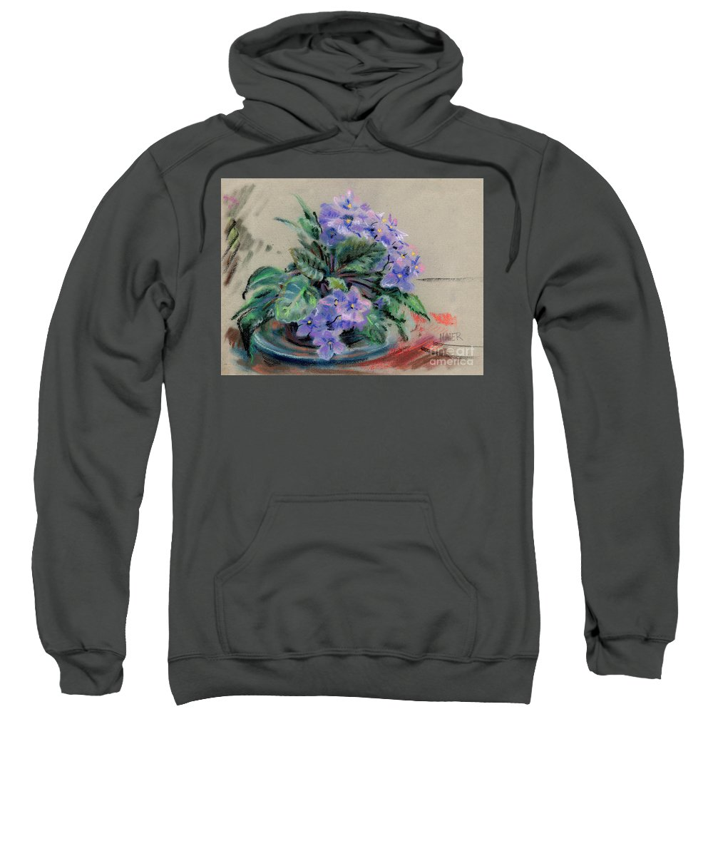 African Violets Sweatshirt featuring the drawing African Violet by Donald Maier