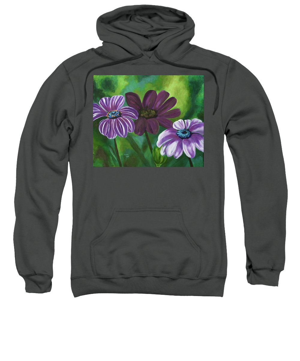 Floral Sweatshirt featuring the painting African Violets by Donna Drake