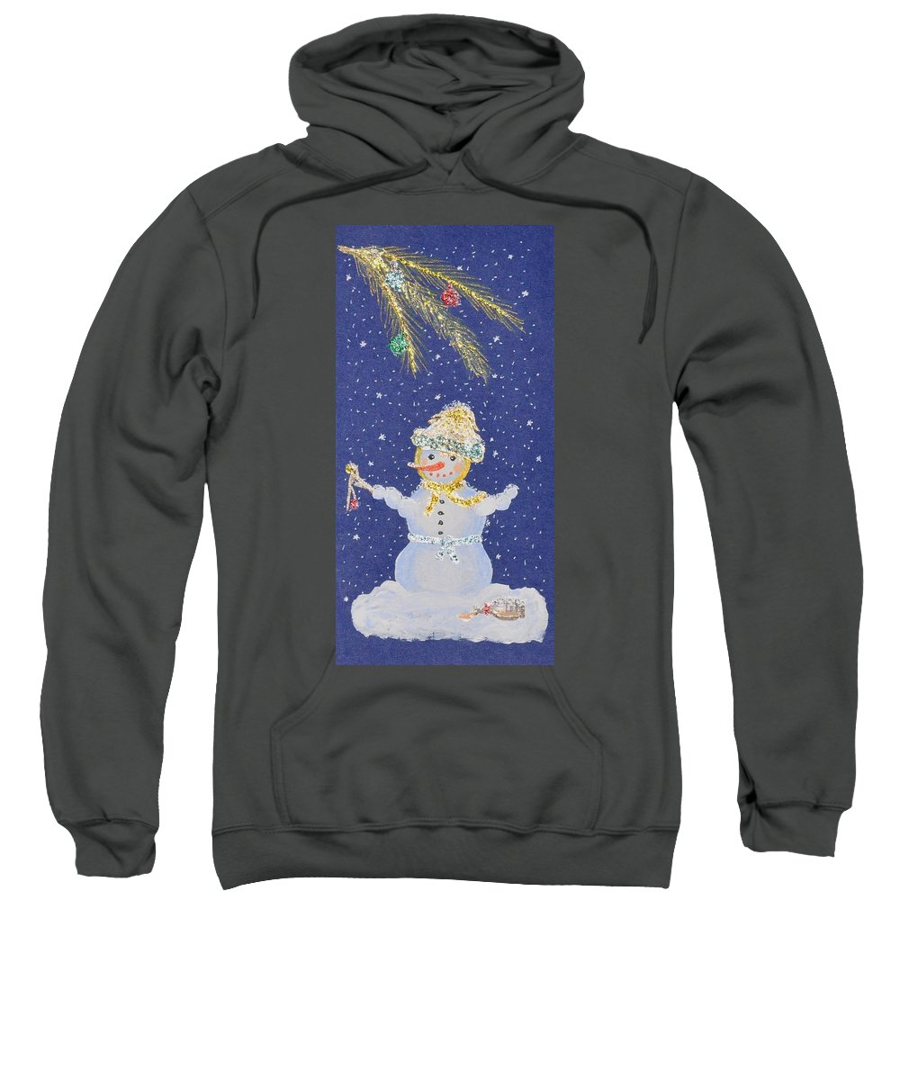 Snowman Sweatshirt featuring the painting After A Long Night by Georgeta Blanaru