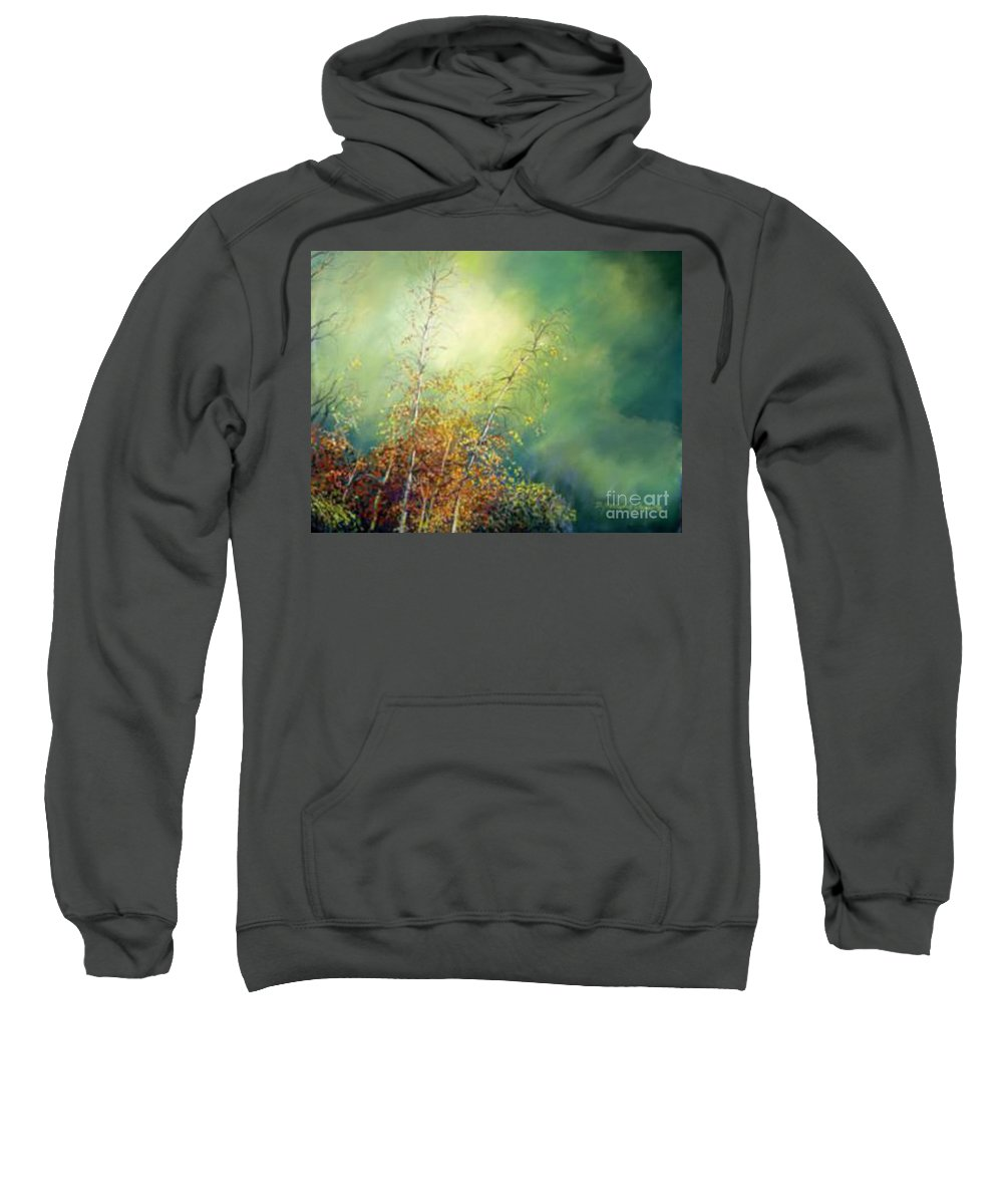 Autumn Trees Sweatshirt featuring the pastel After The Rain by Delores Herringshaw