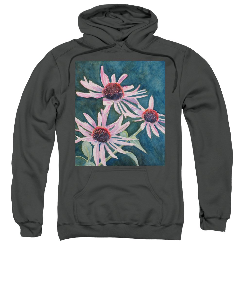 Coneflowers Sweatshirt featuring the painting Afterglow II by Jenny Armitage