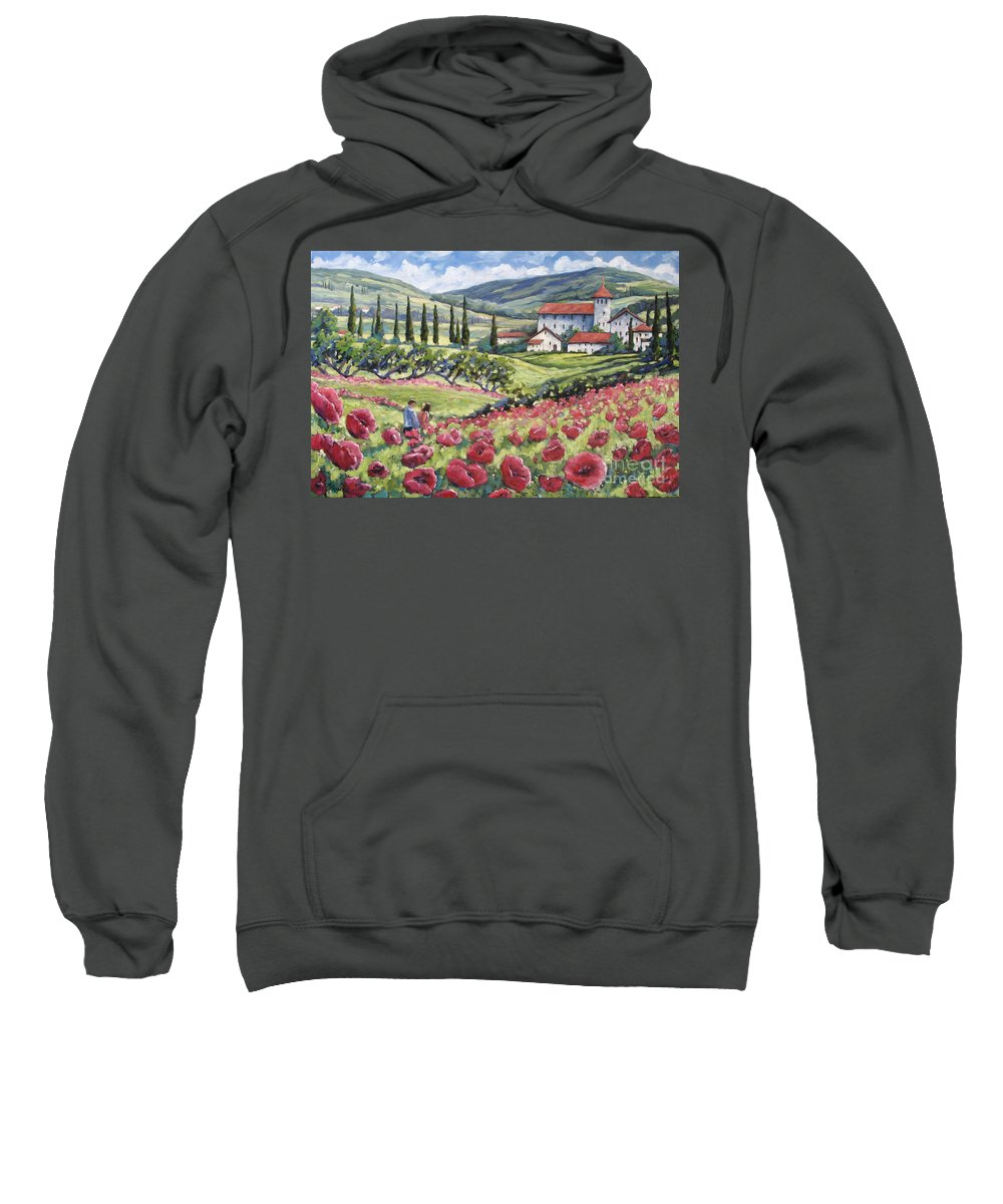 Tuscan Sweatshirt featuring the painting Afternoon Stroll by Richard T Pranke
