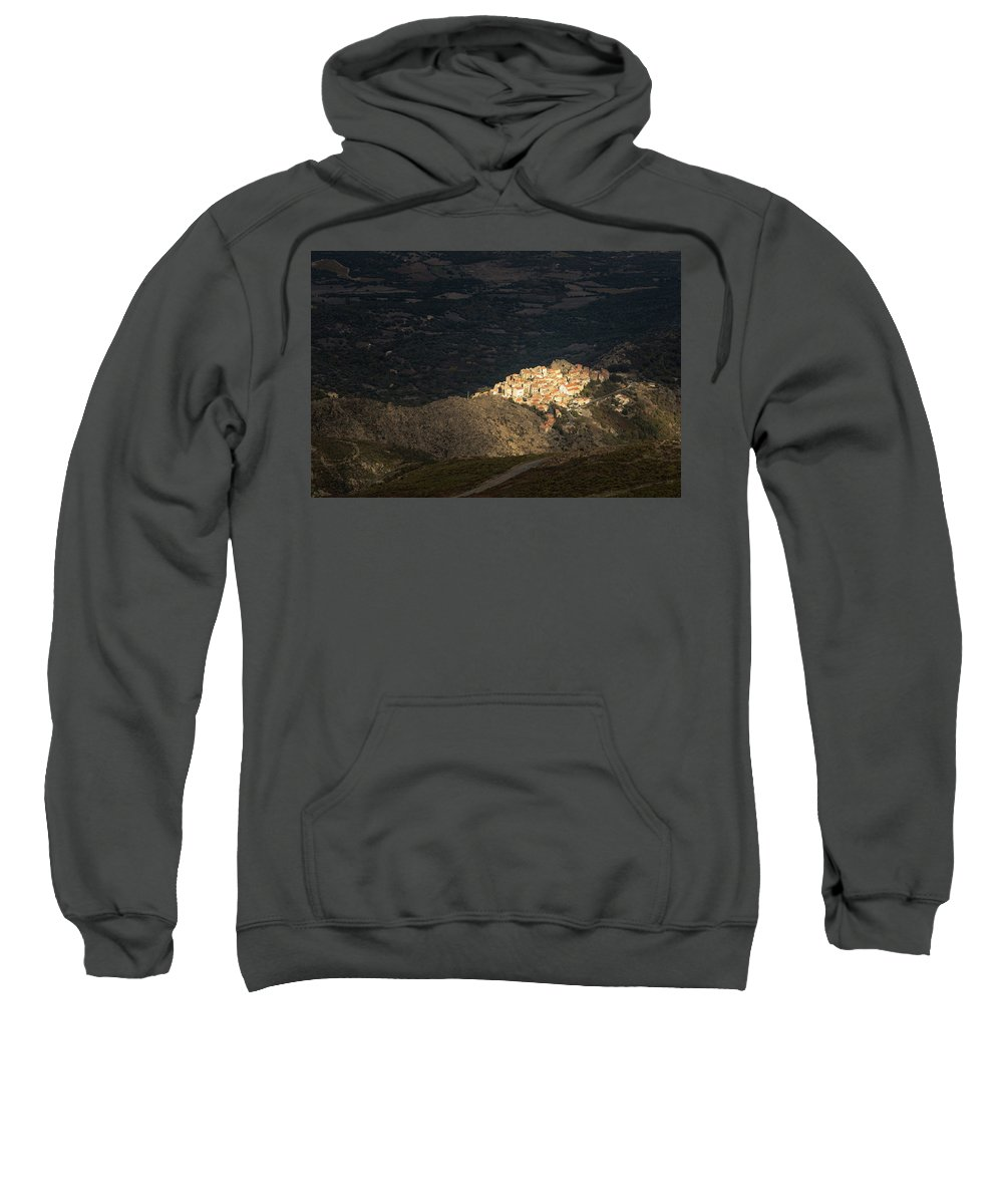 Ancient Sweatshirt featuring the photograph Afternoon Sun Lighting Up Village Of Speloncato In Corsica by Jon Ingall
