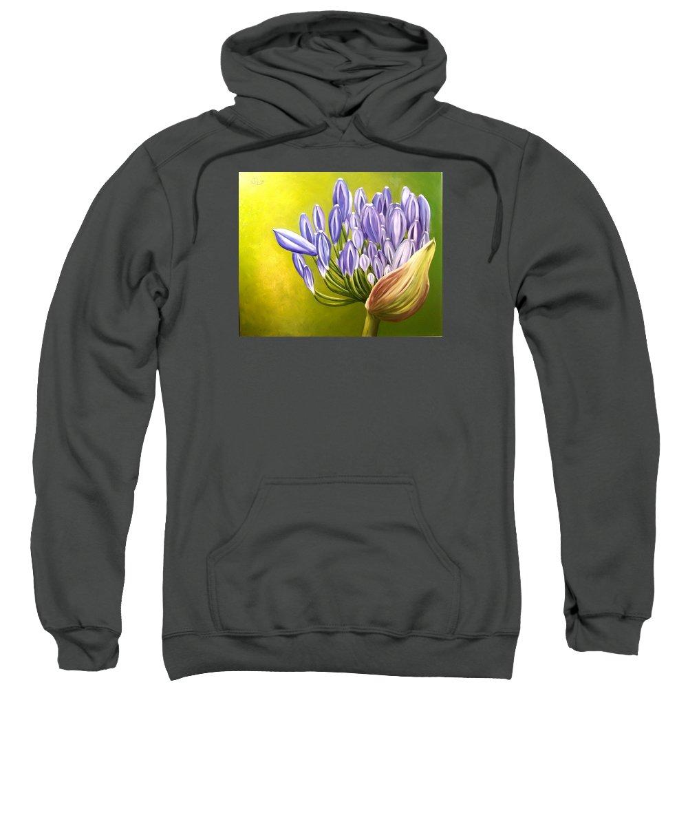 Flower Sweatshirt featuring the painting Agapanthos by Natalia Tejera