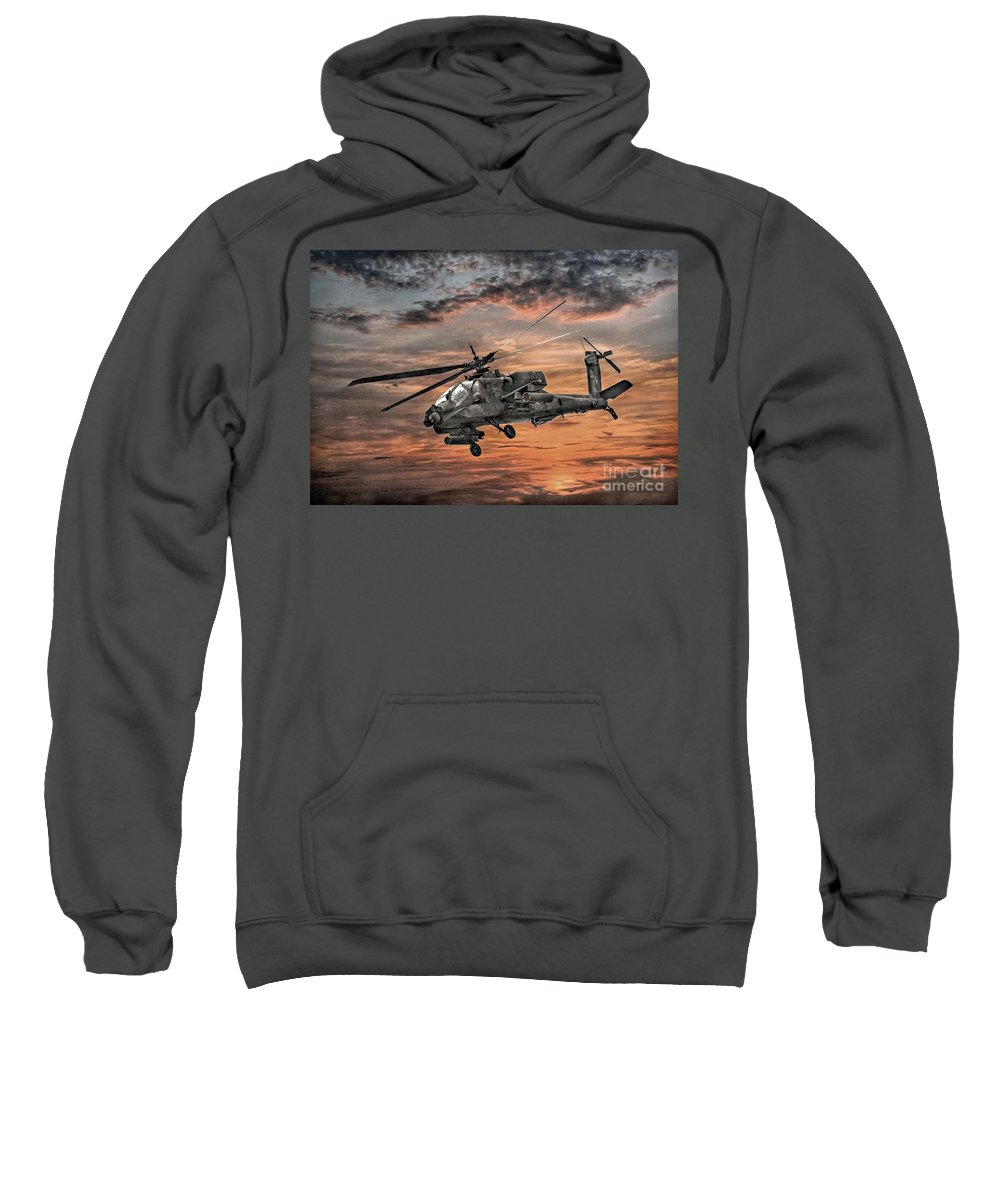 U.s. Army Sweatshirt featuring the digital art Ah-64 Apache Attack Helicopter by Randy Steele