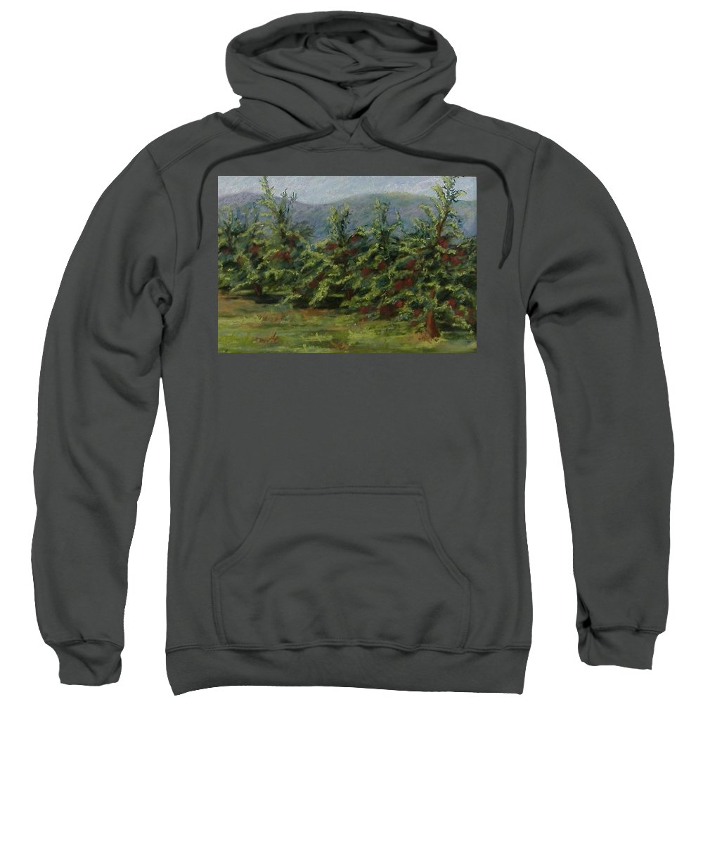 Apple Trees Sweatshirt featuring the pastel Ah The Apple Trees by Pat Snook