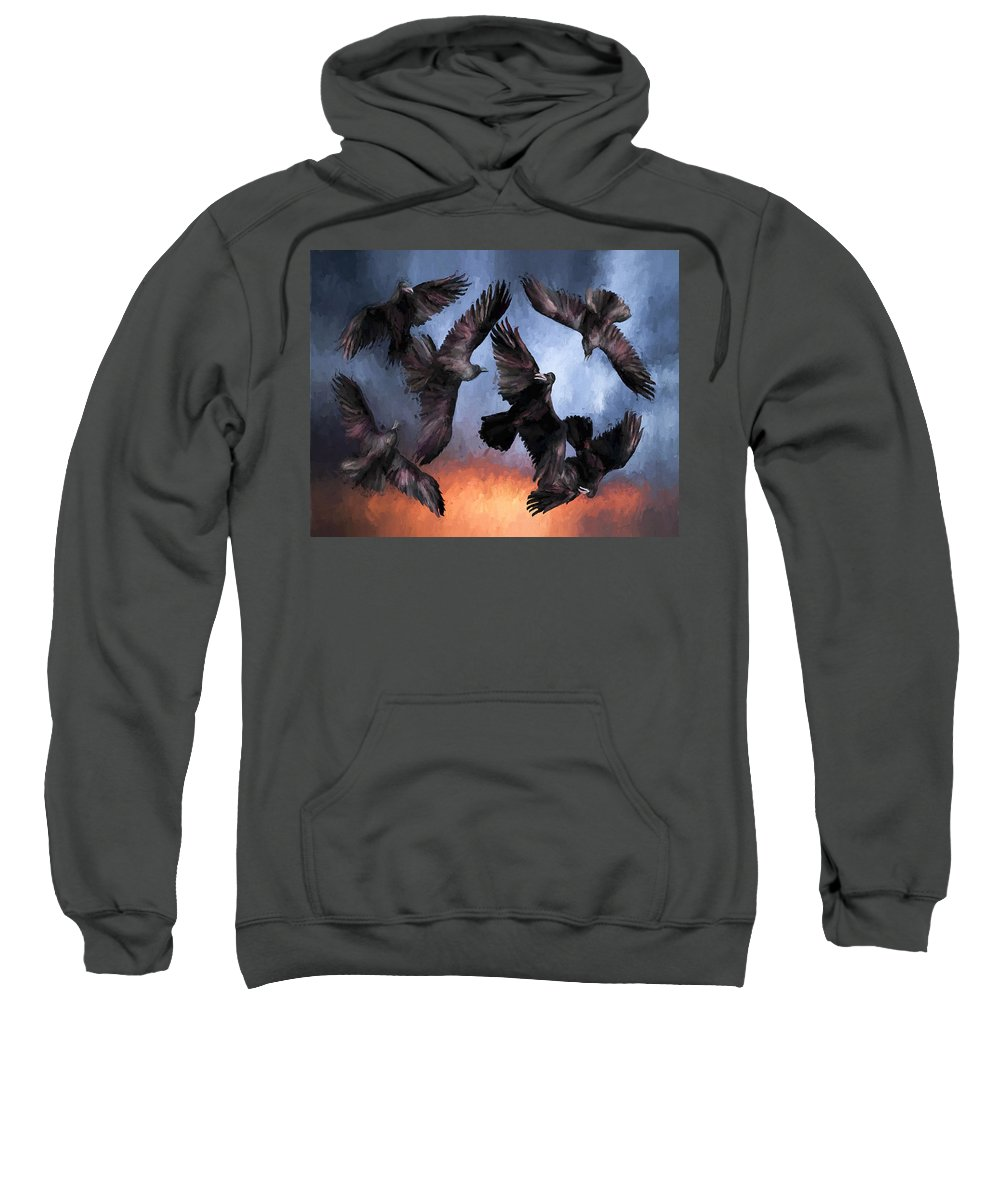 Fine Art Sweatshirt featuring the painting Airborne Unkindness by David Wagner