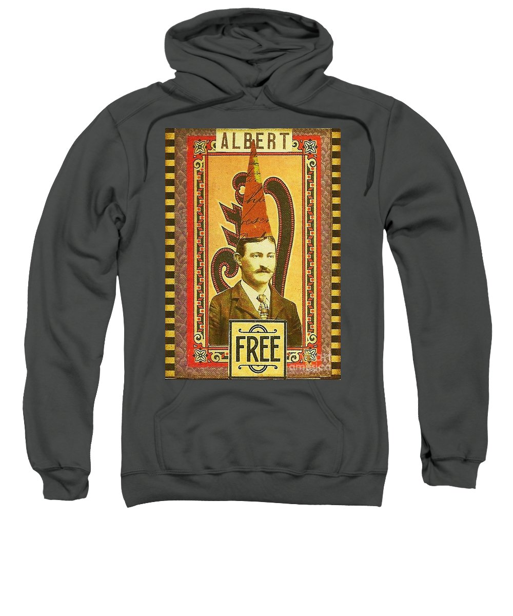 Mixed Media Sweatshirt featuring the mixed media Albert by Anne McDonald