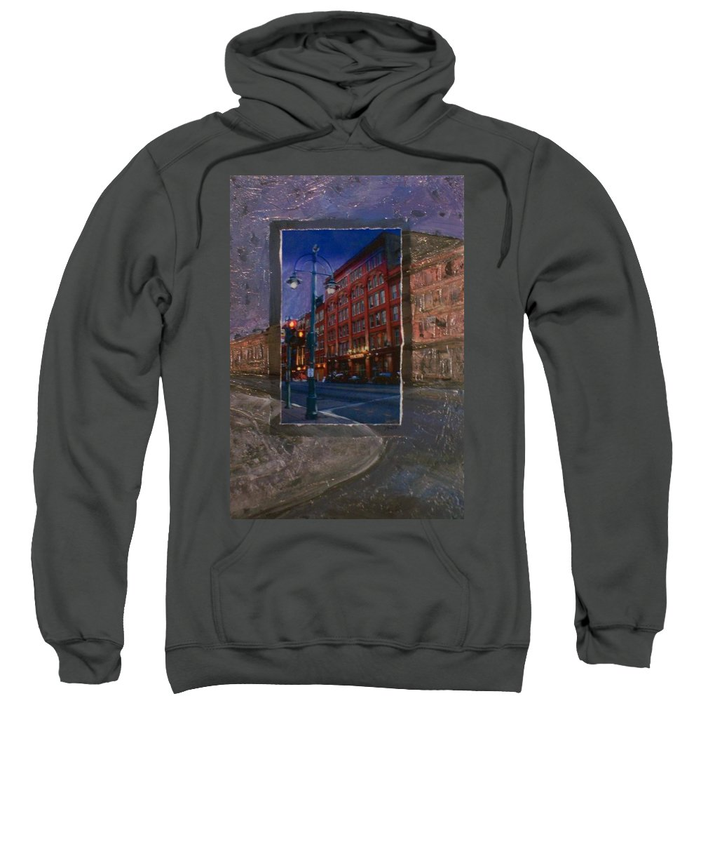 Ale House Sweatshirt featuring the mixed media Ale House And Street Lamp by Anita Burgermeister